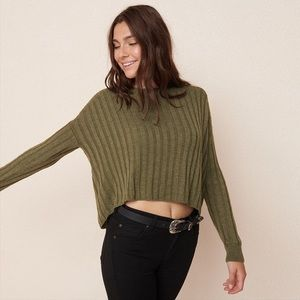 Garage Cropped Ribbed Sweater